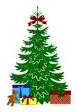 Decorated christmas tree with gift boxes and teddy bear. Template for design, greeting card, invitation. Xmas card vector illustration isolated on white Royalty Free Stock Photos