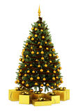 Decorated christmas tree with gift boxes  on white. Background Stock Photography