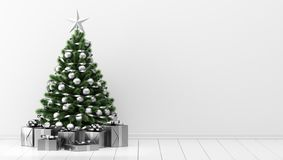 Christmas tree with gift boxes in white room royalty free illustration