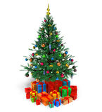Decorated Christmas tree with gifts. Isolated over white background Royalty Free Stock Photography