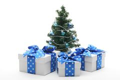 Decorated Christmas tree and gifts Royalty Free Stock Image