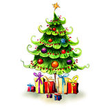 Decorated christmas tree with gifts, greeting card Stock Photo