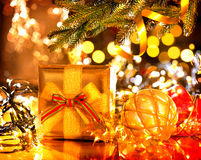 Decorated Christmas tree with gifts Royalty Free Stock Photo