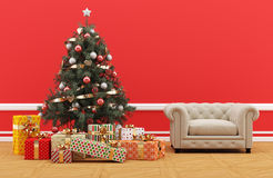 Decorated Christmas tree with gifts. Red room with upholstered sofa. Royalty Free Stock Image