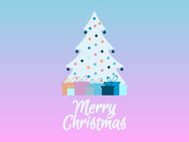 Decorated Christmas tree with gifts. Rose Quartz and serenity of the background color. Vector. Illustration Royalty Free Stock Photo
