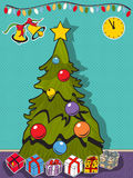 Decorated Christmas tree with gifts Stock Images