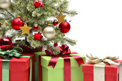 Decorated Christmas tree and gifts Stock Photography