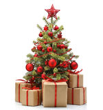 Decorated Christmas tree and gifts Royalty Free Stock Photography