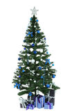 Decorated christmas tree with gifts on white Royalty Free Stock Photo
