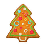Decorated christmas tree.  Gingerbread cookie. Royalty Free Stock Images