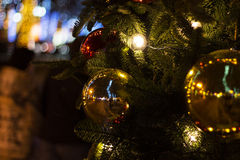 Decorated Christmas tree. Good background for postcard royalty free stock image