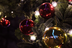 Decorated Christmas tree. Good background for postcard stock photography