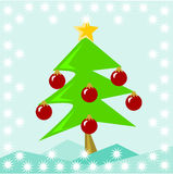 Decorated Christmas tree. A decorated Christmas tree growing outdoor stock illustration