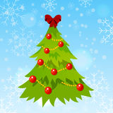 Decorated christmas tree. High quality original trendy vector decorated christmas tree on winter background with bokeh and snowflakes Stock Photography