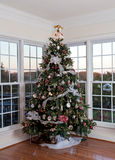 Decorated christmas tree in home Stock Photo