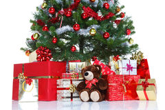 Decorated Christmas tree isolated. Stock Images