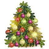 Decorated Christmas tree isolated on white Royalty Free Stock Image