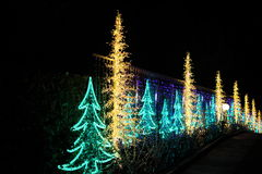Decorated Christmas tree lights Stock Photo