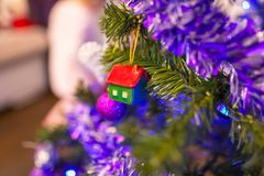 Decorated Christmas tree. In the living room Stock Images