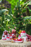Decorated christmas tree with lots of presents in the park Royalty Free Stock Photography