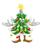 Decorated Christmas Tree man. A decorated cartoon Christmas tree man with baubles and a star on top Stock Image