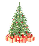 Decorated Christmas tree with many gift boxes Stock Photo