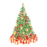 Decorated Christmas tree with many gift boxes Royalty Free Stock Image