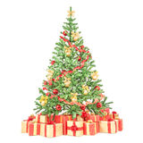 Decorated Christmas tree with many gift boxes Royalty Free Stock Photos