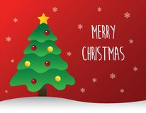 Decorated Christmas Tree with Merry Christmas Text. Vector of Decorated Christmas Tree with Merry Christmas Text royalty free illustration
