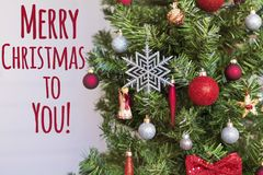 Decorated Christmas Tree with Merry Christmas to You text. Decorated Christmas Tree with Merry Christmas to You Sign.Christmas Card Royalty Free Stock Photo