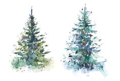 Decorated christmas tree New year Watercolor illustration Water color drawing.  royalty free stock photos
