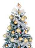 Decorated Christmas Tree On White Background Royalty Free Stock Photos