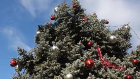 Decorated Christmas tree outdoor. In the breeze and blue sky stock video