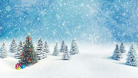 Decorated Christmas tree outdoors falling snow background 3d render stock photos