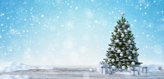 Decorated Christmas tree outdoors falling snow background 3d render. 3d illustration royalty free illustration
