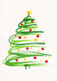 Decorated Christmas tree painting Stock Photo