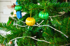 Decorated Christmas tree. Part of decorated Christmas tree Stock Images