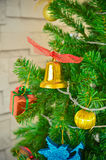 Decorated Christmas tree. Part of decorated Christmas tree Royalty Free Stock Photos
