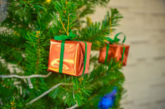 Decorated Christmas tree. Part of decorated Christmas tree Stock Photo