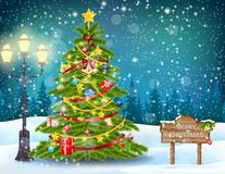 Decorated christmas tree landscape. Decorated christmas tree with present boxes in a winter landscape with snow vector illustration