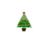 Decorated Christmas tree and presents -  illustration Royalty Free Stock Images
