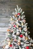 Decorated Christmas tree in red and white colors Royalty Free Stock Photos