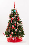 Decorated Christmas tree in a red and white theme Stock Images