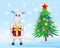 Decorated christmas tree and sheep with a gift. Vector illustration royalty free illustration