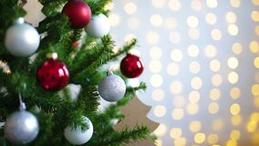Christmas tree and shiny lights. Decorated christmas tree and shiny lights stock video footage