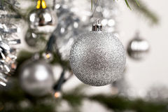 Decorated christmas tree with silver balls. With shallow focus royalty free stock photo