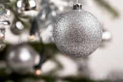Decorated christmas tree with silver balls Stock Image