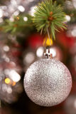 Decorated christmas tree with silver balls. With shallow focus stock images