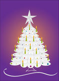 Decorated Christmas tree. Silver decorated Christmas spruce tree and candles, vector format Stock Images