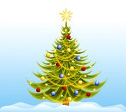 Decorated Christmas Tree Snow. A clip art illustration of a Christmas tree decorated with bulbs,garland and stars sitting in the snow Stock Photography